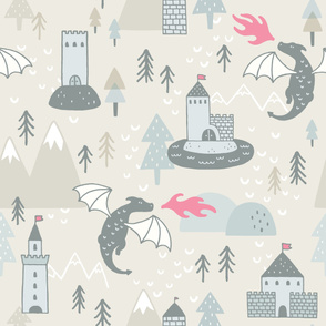 Dragons on Beige Background