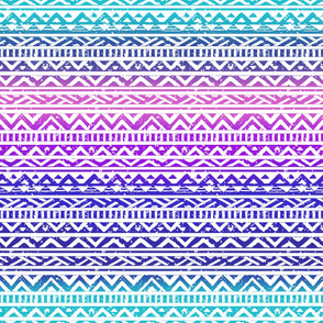 Tribal Aztec Rainbow Distressed Stripe- large scale