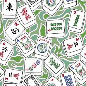 Mahjong Tiles with Green Background Shapes