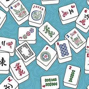 Mahjong Tiles for Mahj Game on Aqua Background