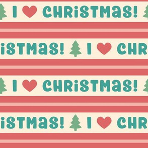 I Heart Christmas in Retro Red, Teal & Green