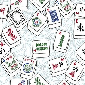 Mahjong Tiles Across a Light Background