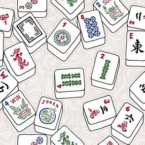 Mahjong Tiles on Cream Swirls Background