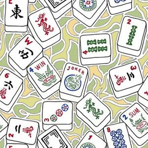 Mahjong Tiles with Fresh Yellow and Green Background Swirls