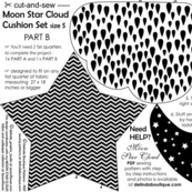 cut and sew Moon Star Cloud Pillow set of 3 black and white SMALL Size  Part B