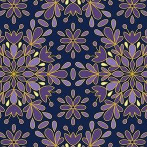 Blue Purple Night Snowflake Christmas
