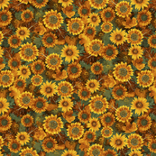 Autumn Sunflowers Brown Teal