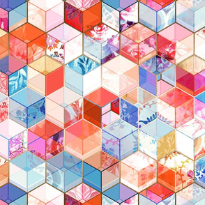Coral, Cream and Cobalt Kaleidoscope Cubes