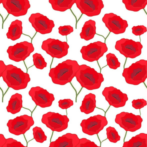 Remembrance Poppies - red on white
