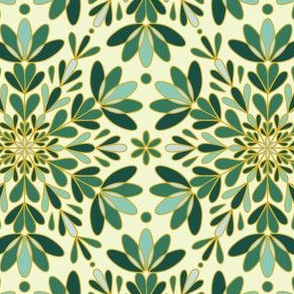 Gold Green Winter Snowflake