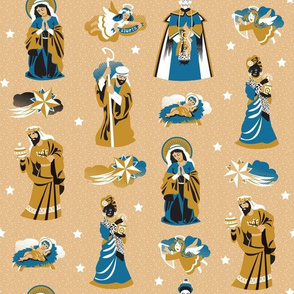 Nativity characters  | curry, blue and black