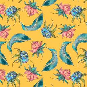 Vintage watercolor floral seamless pattern design
