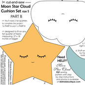 cut and sew Moon Star Cloud Pillow set of 3 blue yellow white SMALL Size  Part B