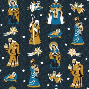 Nativity characters  | black, blue and curry