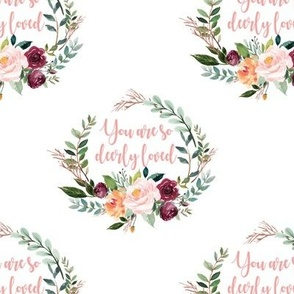 """paprika floral wreath 5"""" you are so deerly loved"""