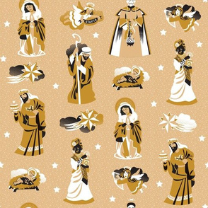 Nativity characters  | curry, black and white