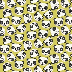 Happy Scandi Pandas on green (small scale)
