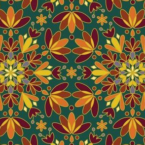 Gold Red Orange Green Snowflake Christmas