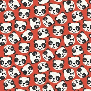 Happy scandi pandas on red (small scale)