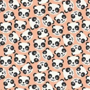 Happy scandi pandas on blush (small scale)