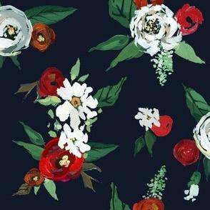 Christmas Roses // Navy