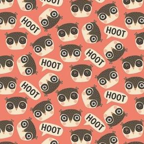 Hoot hoot wake up scandi owls on coral (small)