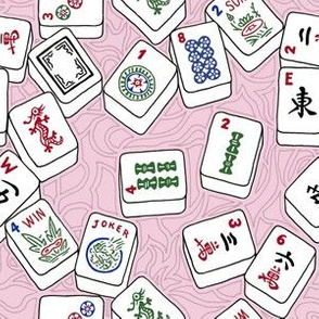 Mahjong Tiles on Pale Pink with Swirls Background