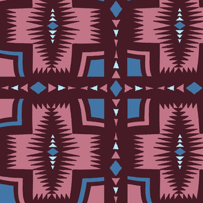 Southwest Folk Art - Burgundy Blue Pink