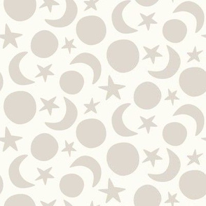 moon and stars coordinate cream and beige scandi (small scale)