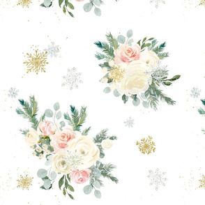 Winter Floral Snowflakes: Pink Flowers, Gold & Silver Snowflakes