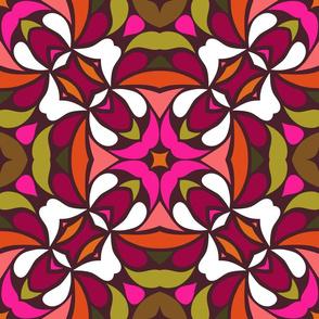Vivid retroscope - avocado and pink on brown