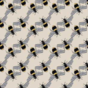 Bees on Beige Background
