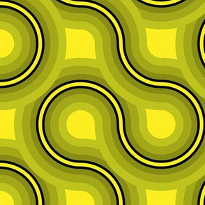 Truchet - curved abstract yellow-green jumbo
