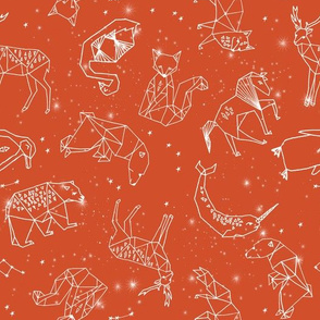 constellations // geometric animal nursery baby design cute constellations fabric - burnt orange