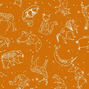 constellations // geometric animal nursery baby design cute constellations fabric - rust