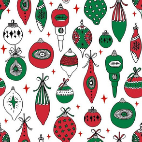 vintage ornaments fabric // andrea lauren fabric, vintage fabric, vintage christmas fabric, ornaments fabric, holiday design - red and green