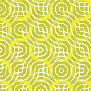 Truchet lines - curved abstract green-white-yellow large
