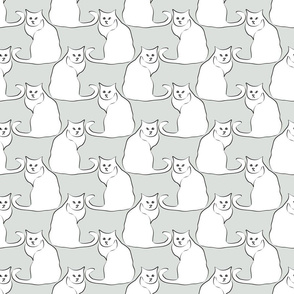 Cat Line Drawings on Gray