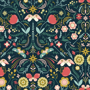 Butterfly Chintz on Navy