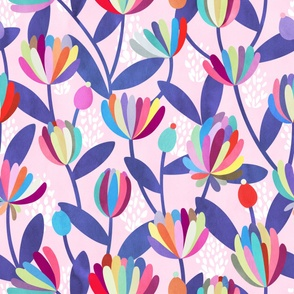 Rainbow Floral Pattern on Pink Background