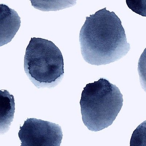 Indigo spots on blue • huge scale • watercolor stains for modern nursery