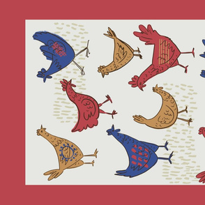 Retro Chickens Tea Towel