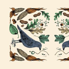 Autumn Crow Tea Towel