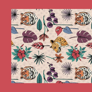 Tropical Jungle Cats Tea Towel