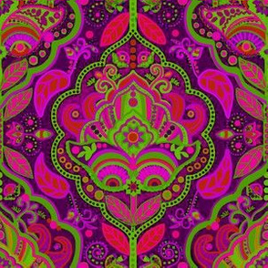 Vintage paisley Pink and green