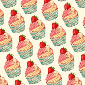 Strawberry Cupcake Pattern - Cream