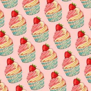 Strawberry Cupcake Pattern - Pink