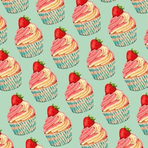 Strawberry Cupcake Pattern - Teal