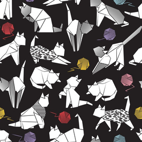 Normal scale // Origami kitten friends playing // black background white coloring paper cats with red blue pink purple and yellow wool balls