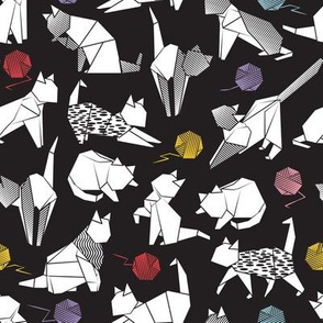 Small scale // Origami kitten friends playing // black background white coloring paper cats with red blue pink purple and yellow wool balls
